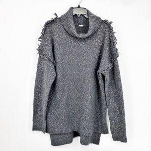 Sun & Shadow Turtleneck Fringe Sweater Gray Sz L